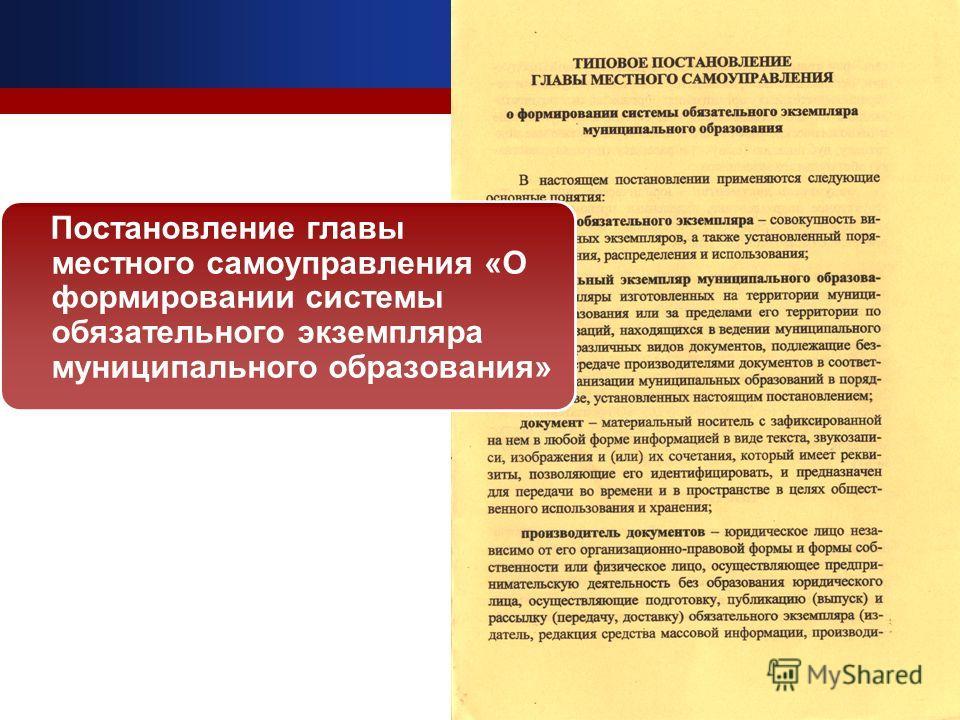 Постановление главы местного самоуправления «О формировании системы обязательного экземпляра муниципального образования»