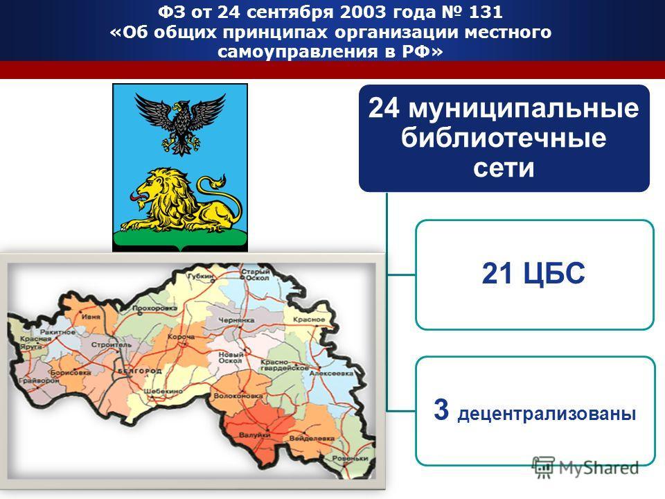 ФЗ от 24 сентября 2003 года 131 «Об общих принципах организации местного самоуправления в РФ» 24 муниципальные библиотечные сети 21 ЦБС3 децентрализованы
