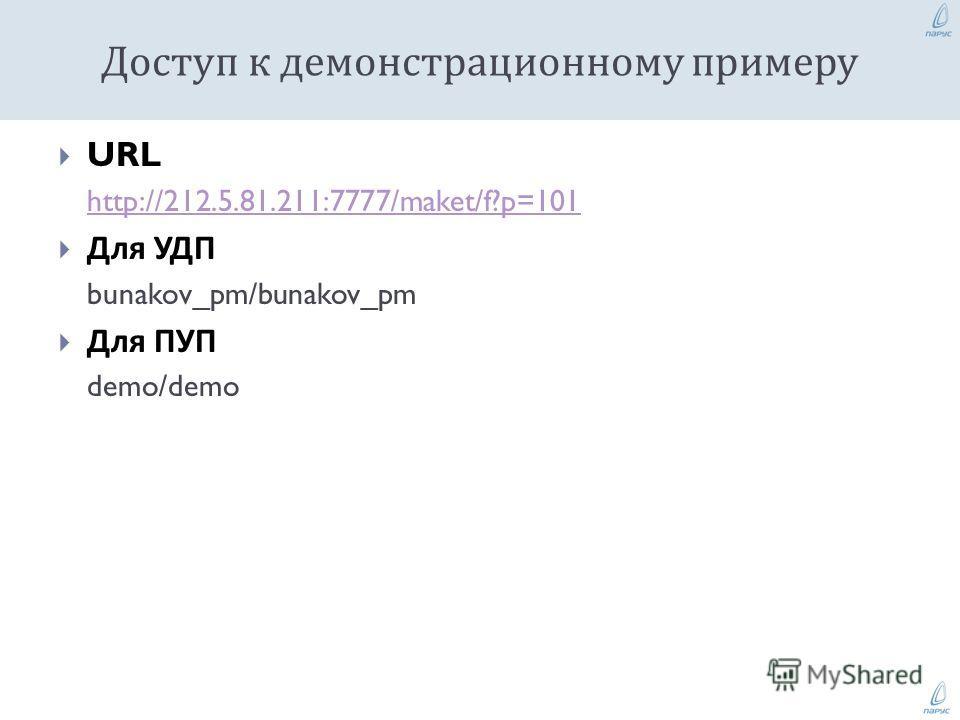 URL http://212.5.81.211:7777/maket/f?p=101 Для УДП bunakov_pm/bunakov_pm Для ПУП demo/demo Доступ к демонстрационному примеру