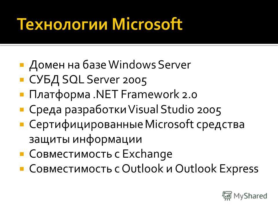Домен на базе Windows Server СУБД SQL Server 2005 Платформа.NET Framework 2.0 Среда разработки Visual Studio 2005 Сертифицированные Microsoft средства защиты информации Совместимость с Exchange Совместимость с Outlook и Outlook Express