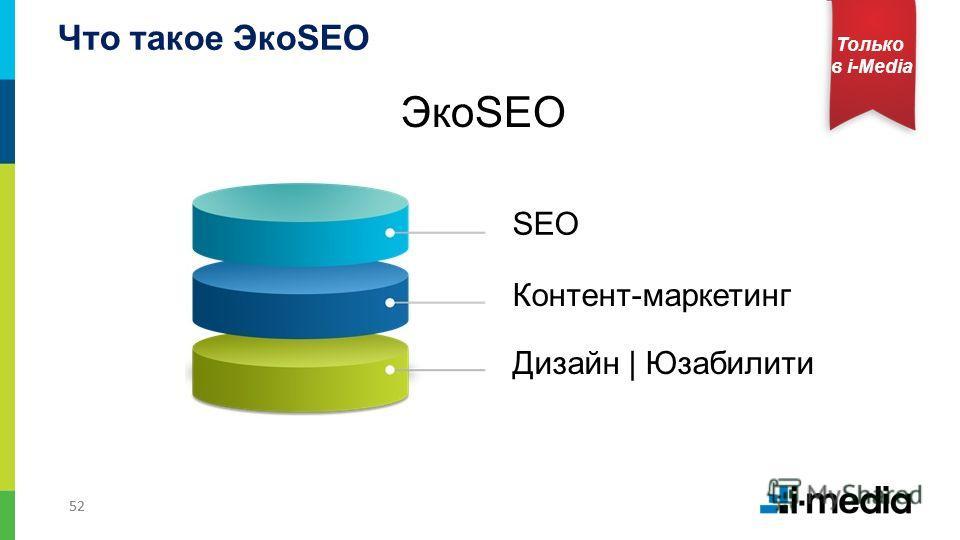 52 Только в i-Media ЭкоSEO Что такое ЭкоSEO SEO Контент-маркетинг Дизайн | Юзабилити