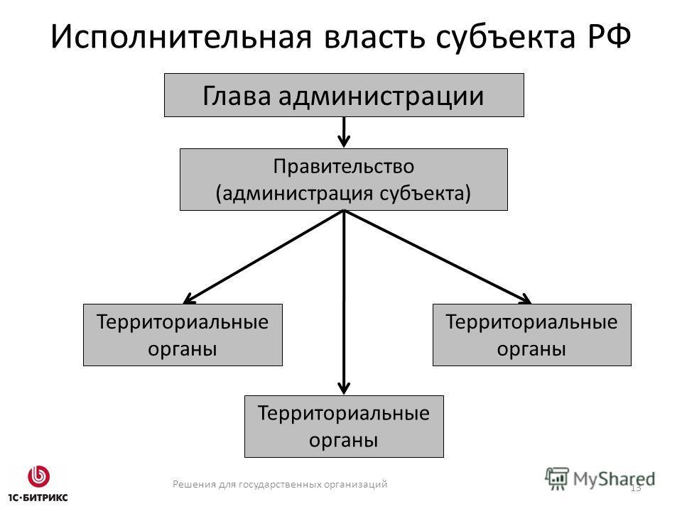 Решения для государственных организаций Исполнительная власть субъекта РФ 13 Правительство (администрация субъекта) Глава администрации Территориальные органы