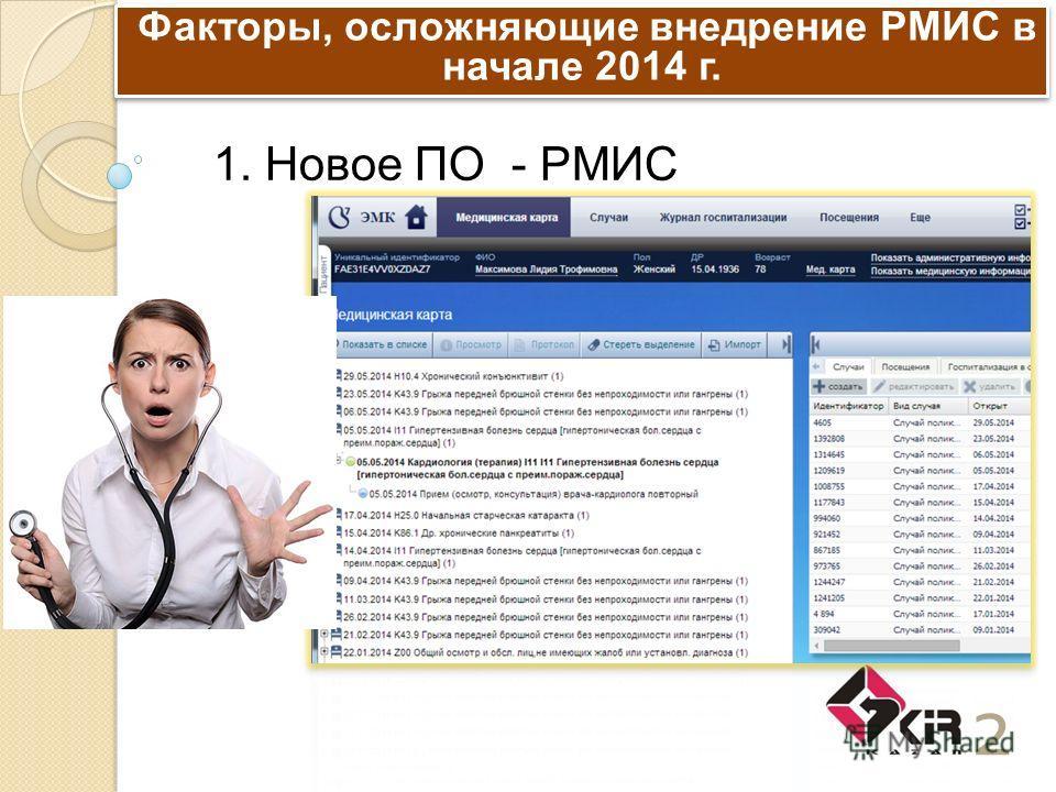 Факторы, осложняющие внедрение РМИС в начале 2014 г. 2 1. Новое ПО - РМИС