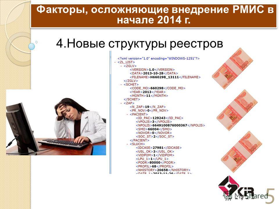 Факторы, осложняющие внедрение РМИС в начале 2014 г. 5 4. Новые структуры реестров