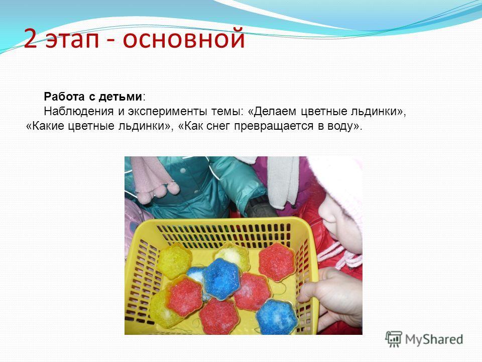 2 этап - основной Работа с детьми: Наблюдения и эксперименты темы: «Делаем цветные льдинки», «Какие цветные льдинки», «Как снег превращается в воду».