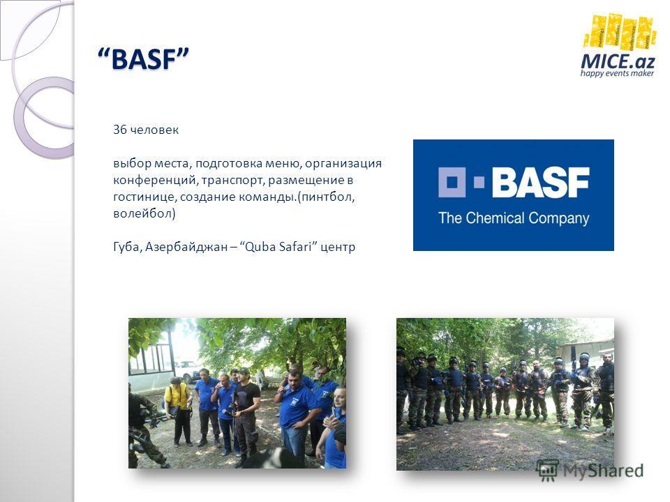 BASF BASF 36 человек выбор места, подготовка меню, организация конференций, транспорт, размещение в гостинице, создание команды.(пинтбол, волейбол) Губа, Азербайджан – Quba Safari центр