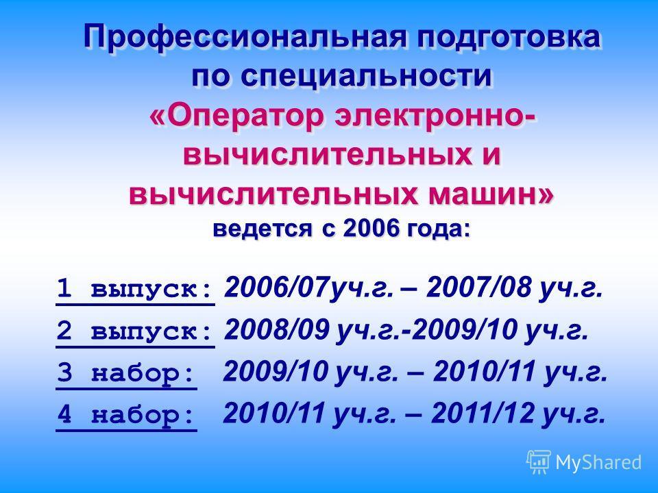 Профессиональная подготовка по специальности «Оператор электронно- вычислительных и вычислительных машин» ведется с 2006 года: 1 выпуск: 2006/07 уч.г. – 2007/08 уч.г. 2 выпуск: 2008/09 уч.г.-2009/10 уч.г. 3 набор: 2009/10 уч.г. – 2010/11 уч.г. 4 набо