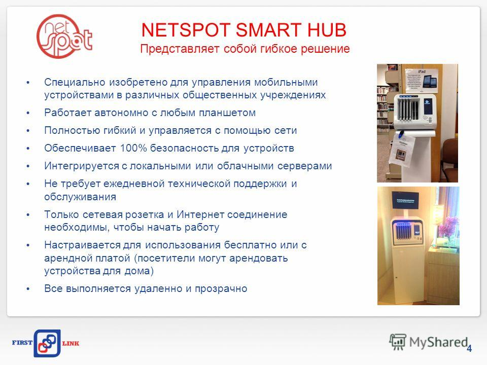 NETSPOT SMART HUB Представляет собой гибкое решение Cпециально изобретено для управления мобильными устройствами в различных общественных учреждениях Работает автономно с любым планшетом Полностью гибкий и управляется с помощью сети Обеспечивает 100%