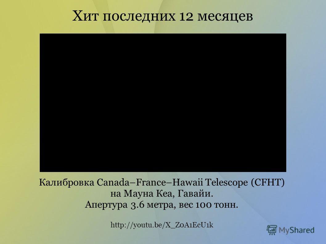 Хит последних 12 месяцев Калибровка Canada–France–Hawaii Telescope (CFHT) на Мауна Кеа, Гавайи. Апертура 3.6 метра, вес 100 тонн. http://youtu.be/X_Z0A1EcU1k
