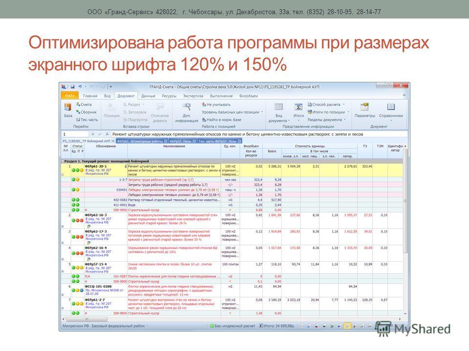 Оптимизирована работа программы при размерах экранного шрифта 120% и 150% ООО «Гранд-Сервис» 428022, г. Чебоксары, ул. Декабристов, 33 а, тел. (8352) 28-10-95, 28-14-77