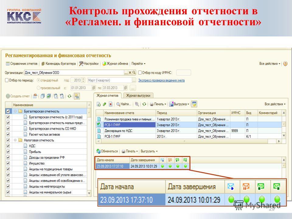 Контроль прохождения отчетности в «Регламен. и финансовой отчетности» 29