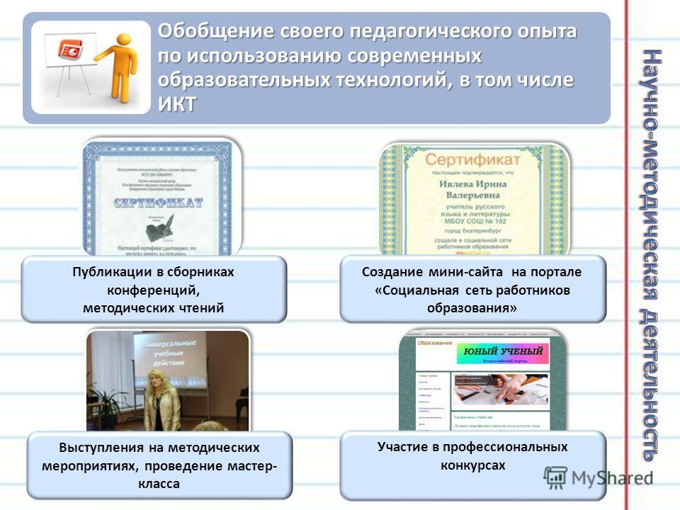 Обобщение своего педагогического опыта по использованию современных образовательных технологий, в том числе ИКТ Выступления на методических мероприятиях, проведение мастер- класса Публикации в сборниках конференций, методических чтений Создание мини-