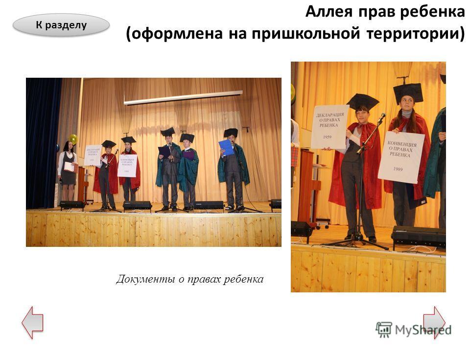 Документы о правах ребенка Аллея прав ребенка (оформлена на пришкольной территории) К разделу