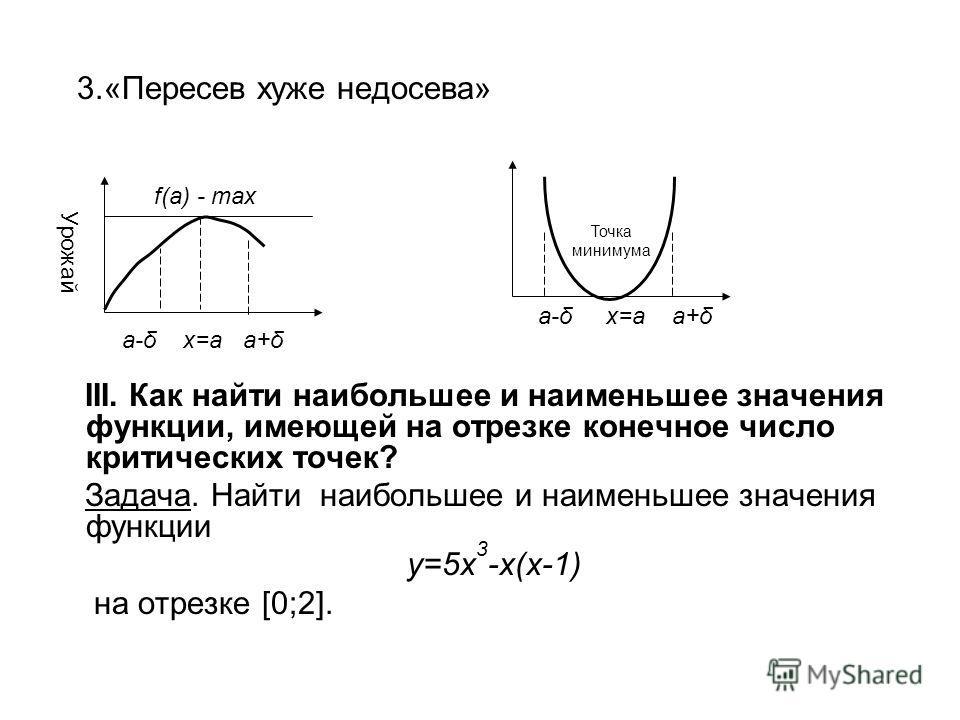 3.«Пересев хуже недосева» III. Как найти наибольшее и наименьшее значения функции, имеющей на отрезке конечное число критических точек? Задача. Найти наибольшее и наименьшее значения функции y=5x 3 -x(x-1) на отрезке [0;2]. f(a) - max Урожай a-δ x=a
