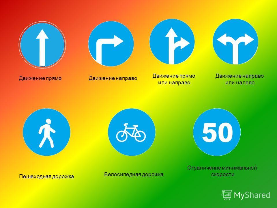 Ограничение минимальной скорости Пешеходная дорожка Велосипедная дорожка Движение прямо Движение направо Движение прямо или направо Движение направо или налево