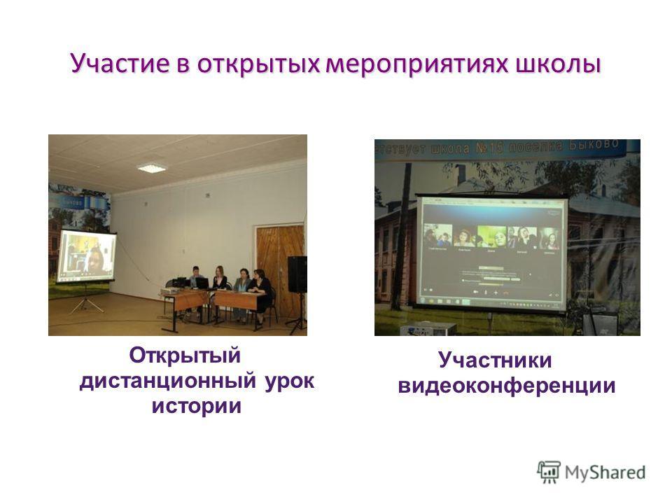 Участие в открытых мероприятиях школы Участники видеоконференции Открытый дистанционный урок истории