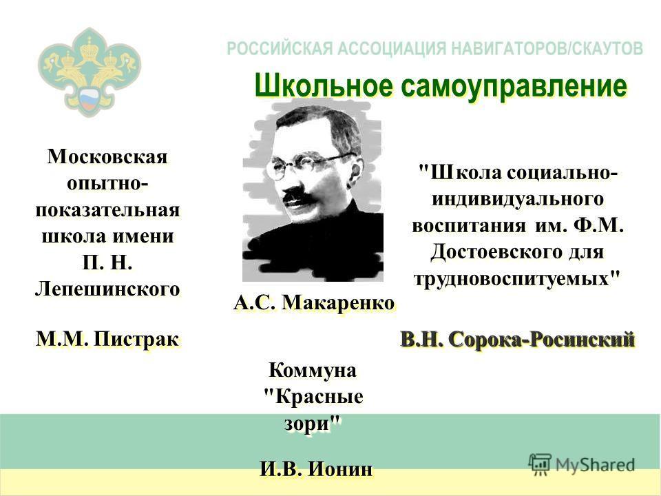 Московская опытно- показательная школа имени П. Н. Лепешинского М.М. Пистрак Коммуна