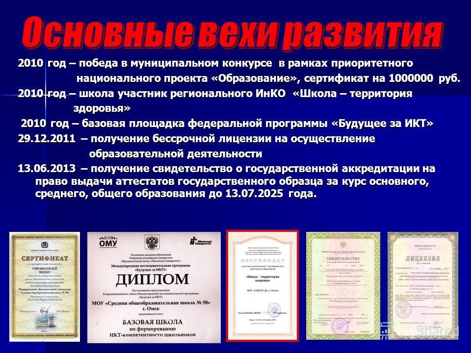 2010 год – победа в муниципальном конкурсе в рамках приоритетного национального проекта «Образование», сертификат на 1000000 руб. национального проекта «Образование», сертификат на 1000000 руб. 2010 год – школа участник регионального ИнКО «Школа – те