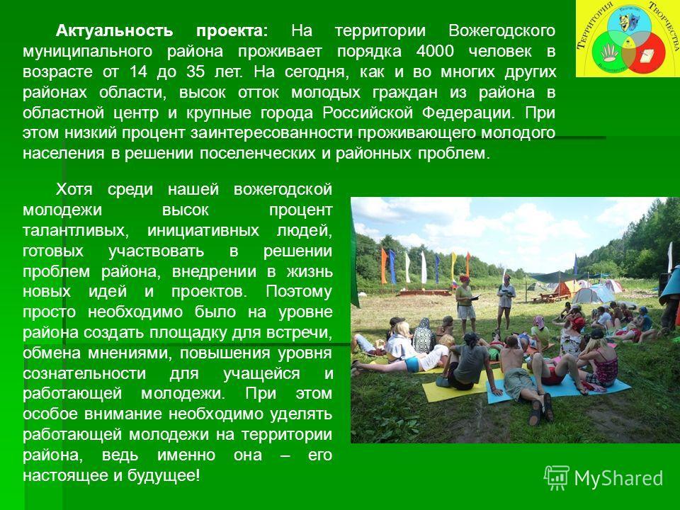 Актуальность проекта: На территории Вожегодского муниципального района проживает порядка 4000 человек в возрасте от 14 до 35 лет. На сегодня, как и во многих других районах области, высок отток молодых граждан из района в областной центр и крупные го
