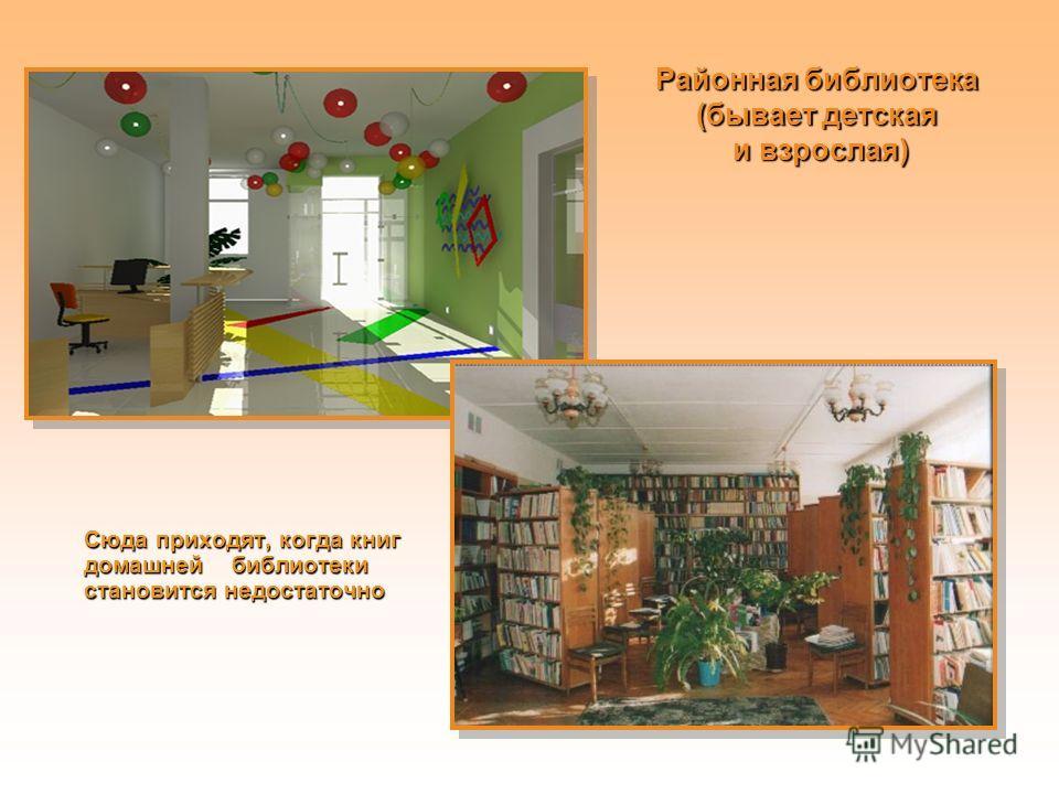Районная библиотека (бывает детская и взрослая) Сюда приходят, когда книг домашней библиотеки становится недостаточно