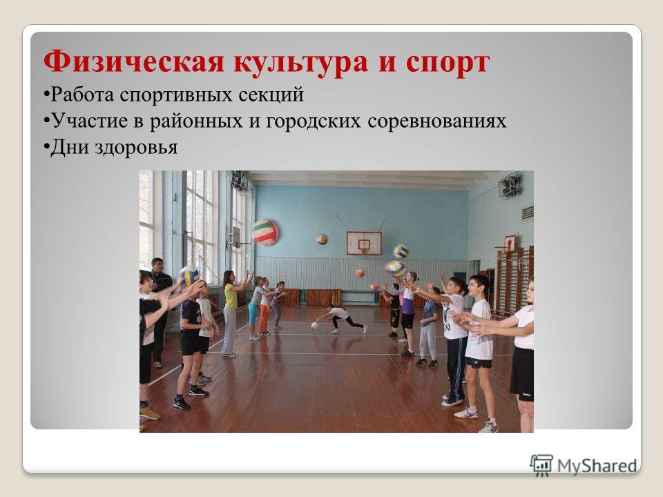 Физическая культура и спорт Работа спортивных секций Участие в районных и городских соревнованиях Дни здоровья