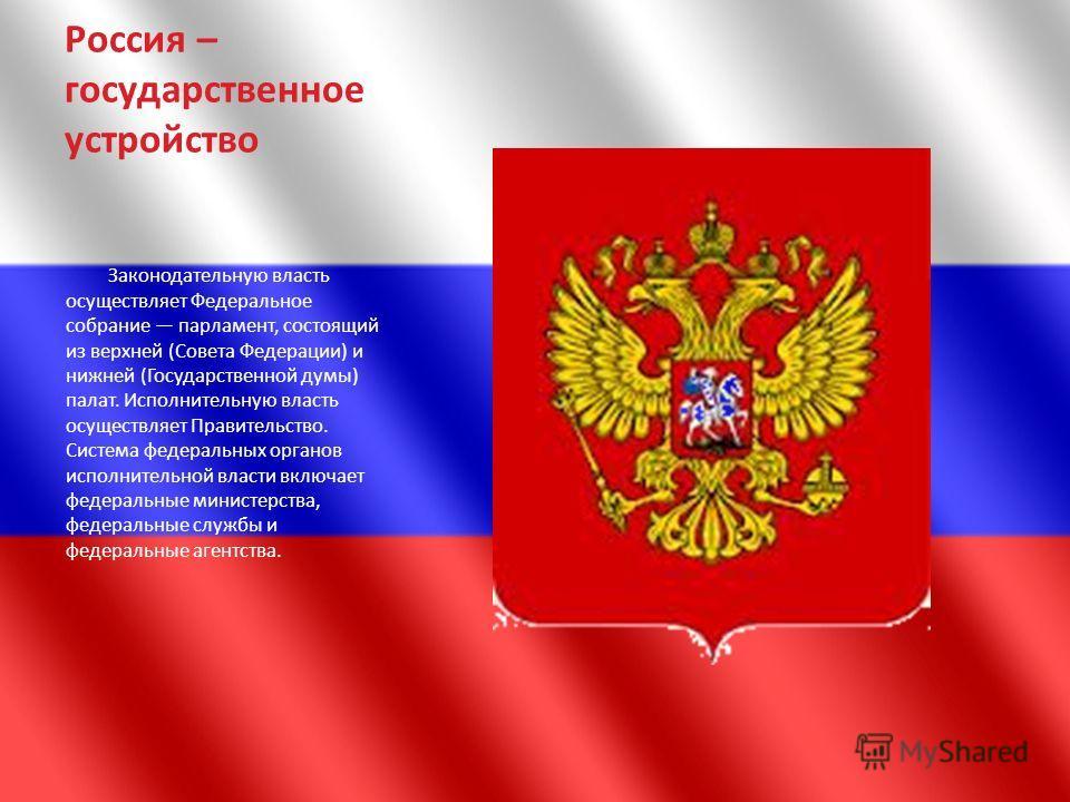 Россия – государственное устройство Законодательную власть осуществляет Федеральное собрание парламент, состоящий из верхней (Совета Федерации) и нижней (Государственной думы) палат. Исполнительную власть осуществляет Правительство. Система федеральн