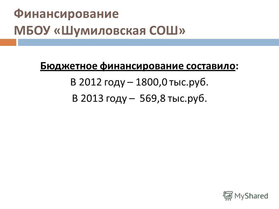 Финансирование МБОУ « Шумиловская СОШ » Бюджетное финансирование составило : В 2012 году – 1800,0 тыс. руб. В 2013 году – 569,8 тыс. руб.