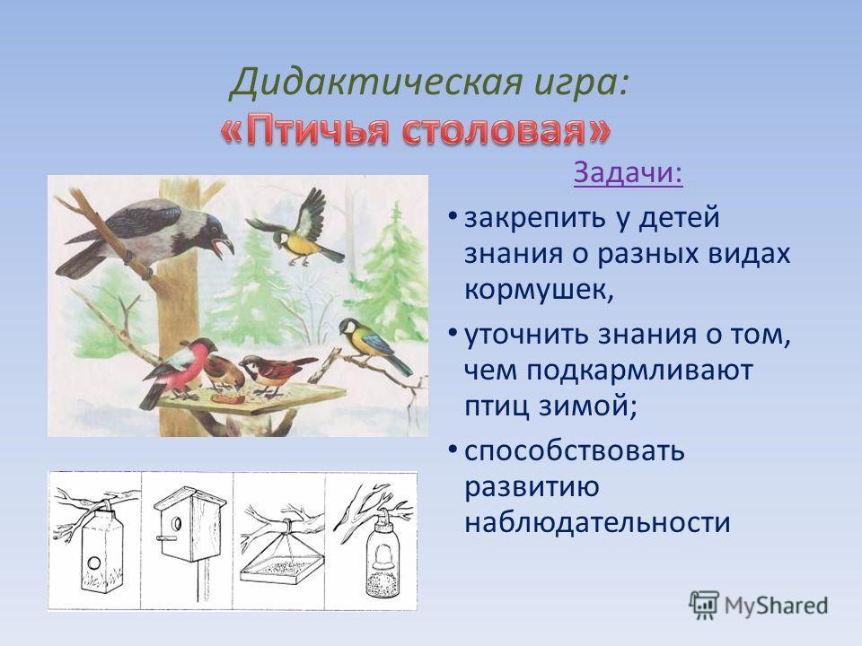 Дидактическая игра: Задачи: закрепить у детей знания о разных видах кормушек, уточнить знания о том, чем подкармливают птиц зимой; способствовать развитию наблюдательности
