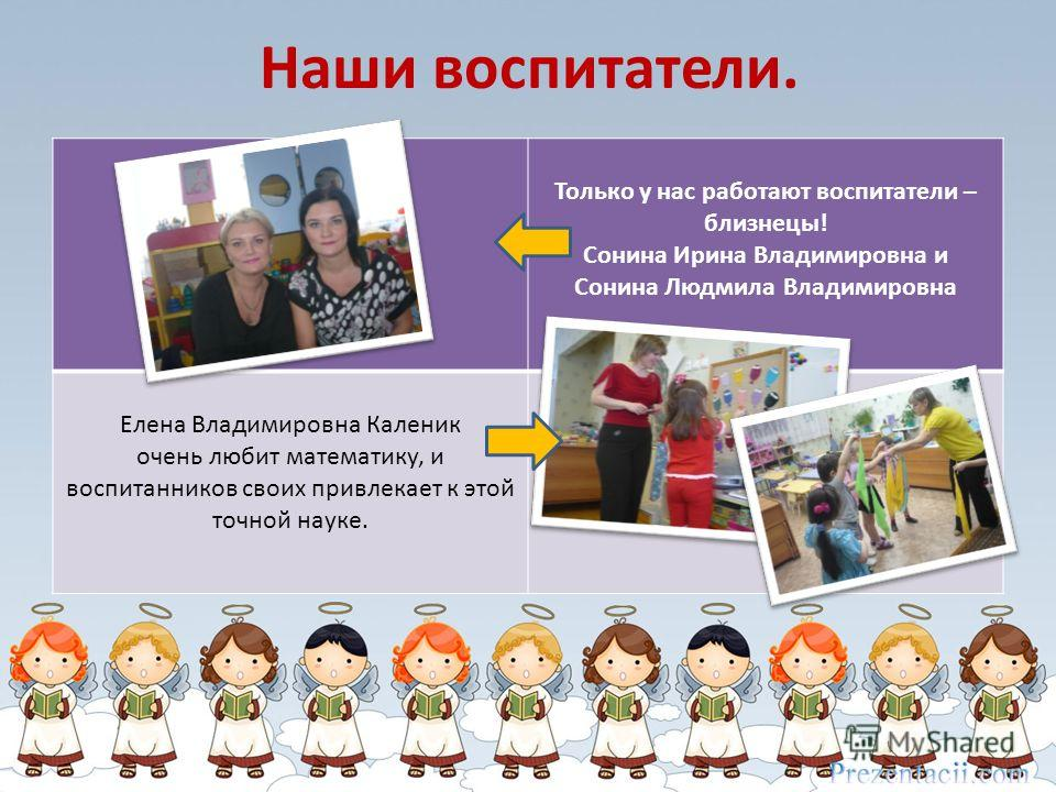 Наши воспитатели. Только у нас работают воспитатели – близнецы! Сонина Ирина Владимировна и Сонина Людмила Владимировна Елена Владимировна Каленик очень любит математику, и воспитанников своих привлекает к этой точной науке.