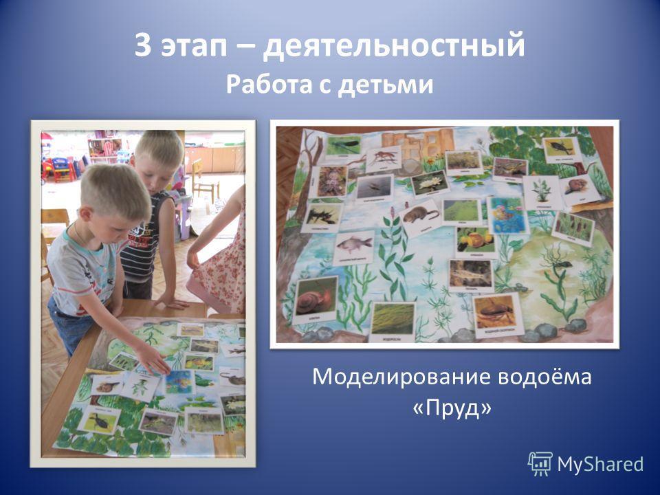 3 этап – деятельностный Работа с детьми Моделирование водоёма «Пруд»