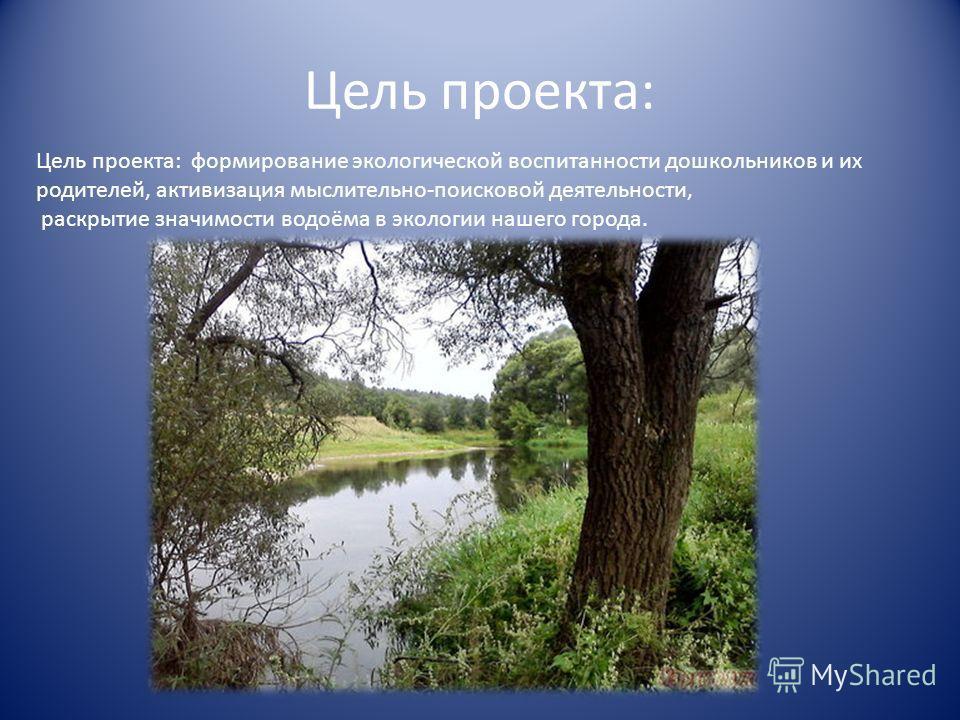 Цель проекта: Цель проекта: формирование экологической воспитанности дошкольников и их родителей, активизация мыслительно-поисковой деятельности, раскрытие значимости водоёма в экологии нашего города.