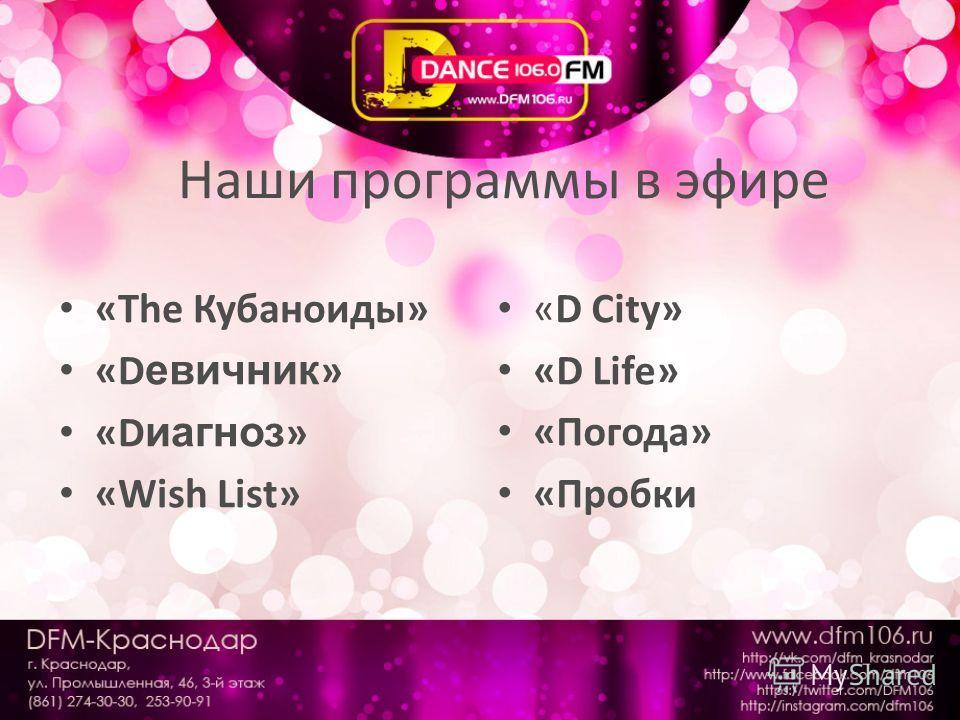 Наши программы в эфире «The Кубаноиды» «D евичник » «D иагноз » «Wish List» «D City» «D Life» «Погода» «Пробки