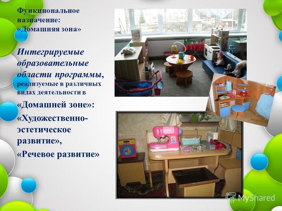 Функциональное назначение: «Домашняя зона» Интегрируемые образовательные области программы, реализуемые в различных видах деятельности в «Домашней зоне»: «Художественно- эстетическое развитие», «Речевое развитие»