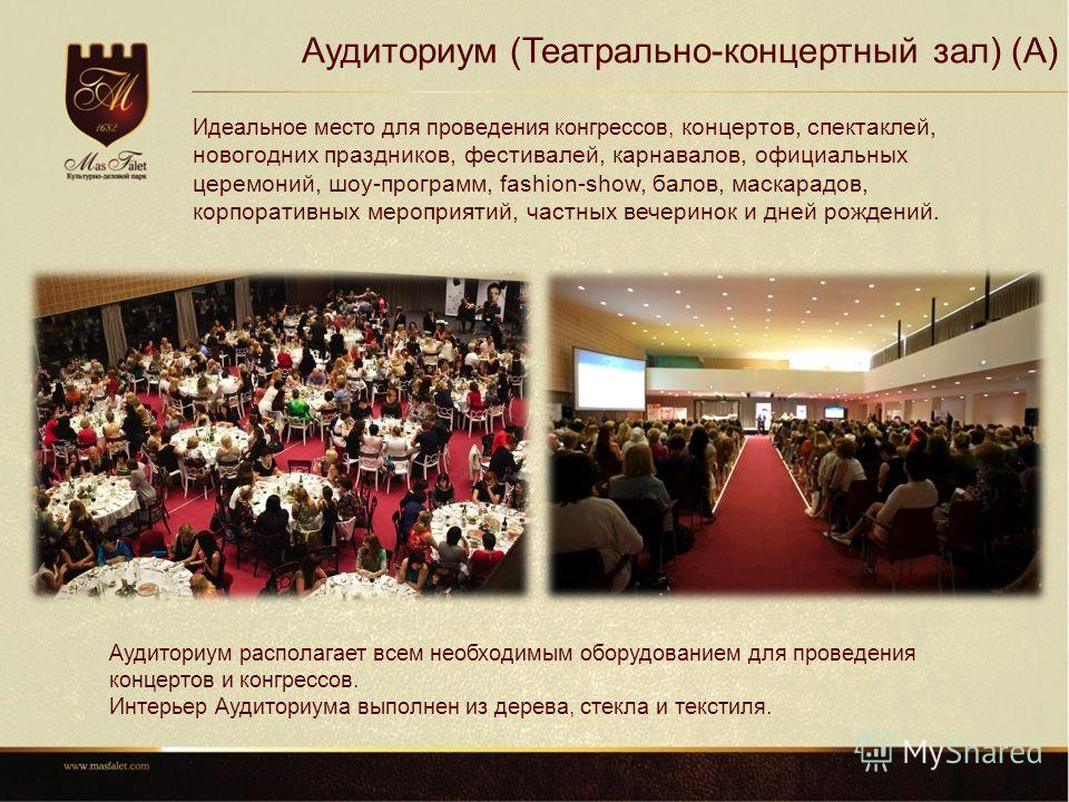 Аудиториум (Театрально-концертный зал) (A) Идеальное место для проведения конгрессов, концертов, спектаклей, новогодних праздников, фестивалей, карнавалов, официальных церемоний, шоу-программ, fashion-show, балов, маскарадов, корпоративных мероприяти