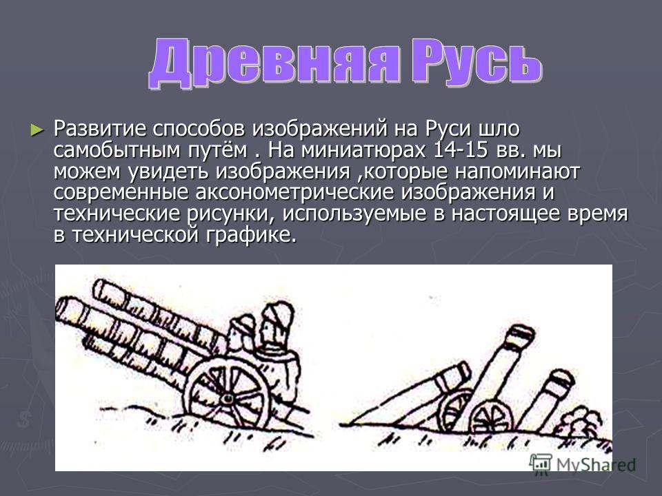 Развитие способов изображений на Руси шло самобытным путём. На миниатюрах 14-15 вв. мы можем увидеть изображения,которые напоминают современные аксонометрические изображения и технические рисунки, используемые в настоящее время в технической графике.