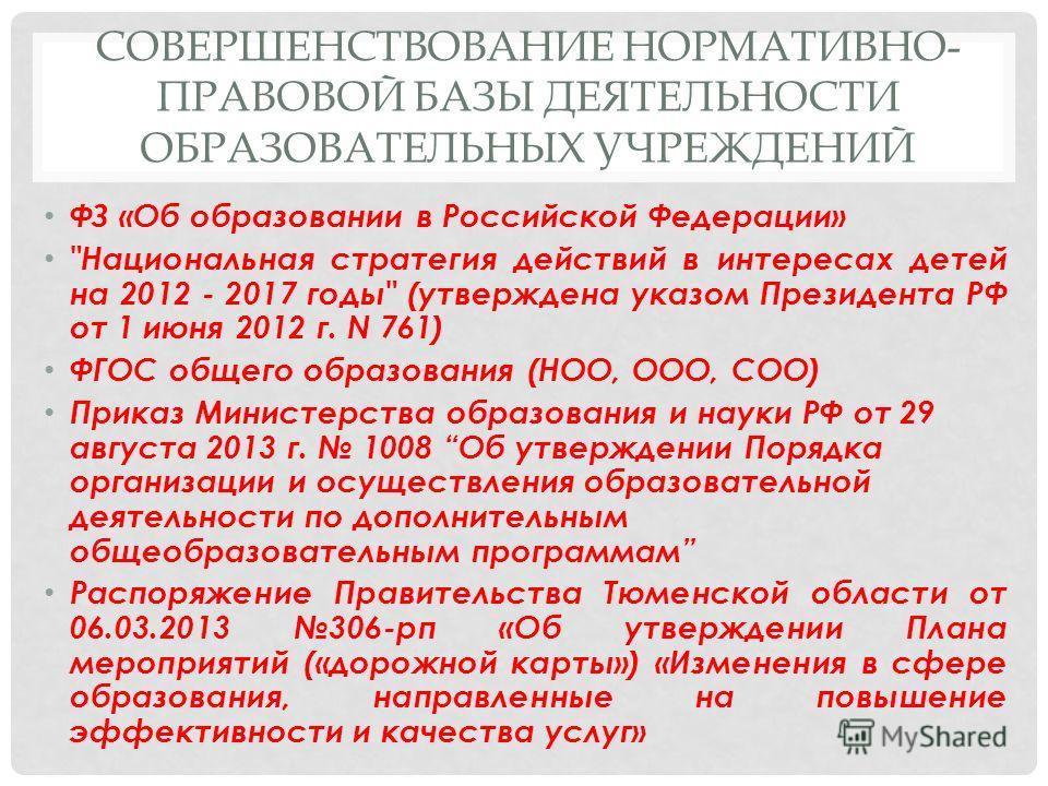 СОВЕРШЕНСТВОВАНИЕ НОРМАТИВНО- ПРАВОВОЙ БАЗЫ ДЕЯТЕЛЬНОСТИ ОБРАЗОВАТЕЛЬНЫХ УЧРЕЖДЕНИЙ ФЗ «Об образовании в Российской Федерации»