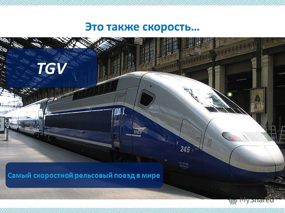 Это также скорость… TGV Самый скоростной рельсовый поезд в мире