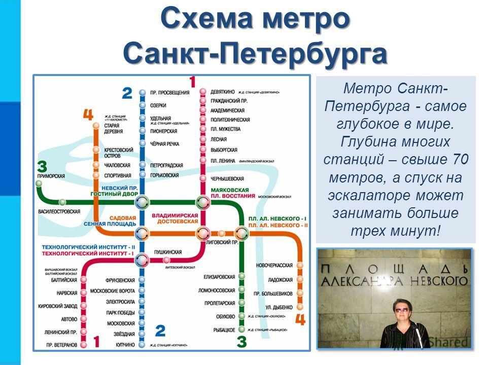 Схема метро Санкт-Петербурга Метро Санкт- Петербурга - самое глубокое в мире. Глубина многих станций – свыше 70 метров, а спуск на эскалаторе может занимать больше трех минут!