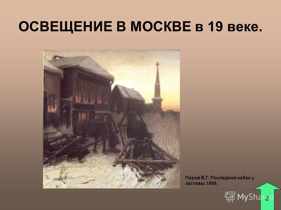ОСВЕЩЕНИЕ В МОСКВЕ в 19 веке. Перов В.Г. Последний кабак у заставы.1868. 2