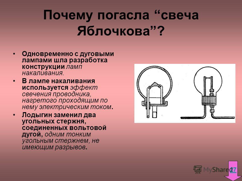 Почему погасла свеча Яблочкова? Одновременно с дуговыми лампами шла разработка конструкции ламп накаливания. В лампе накаливания используется эффект свечения проводника, нагретого проходящим по нему электрическим током. Лодыгин заменил два угольных с