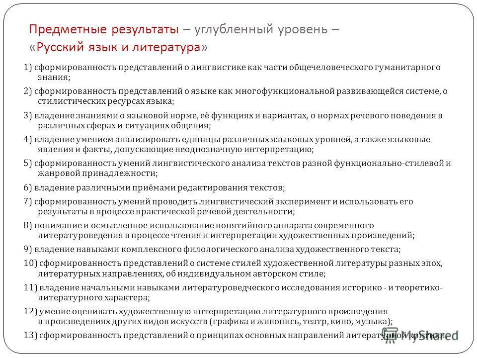 Предметные результаты – углубленный уровень – « Русский язык и литература » 1) сформированность представлений о лингвистике как части общечеловеческого гуманитарного знания ; 2) сформированность представлений о языке как многофункциональной развивающ