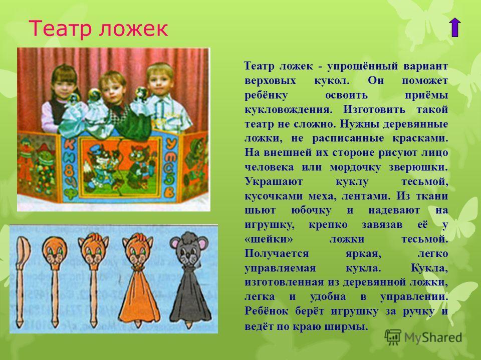 Театр ложек Театр ложек - упрощённый вариант верховых кукол. Он поможет ребёнку освоить приёмы кукловождения. Изготовить такой театр не сложно. Нужны деревянные ложки, не расписанные красками. На внешней их стороне рисуют лицо человека или мордочку з