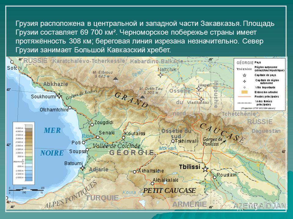 Грузия расположена в центральной и западной части Закавказья. Площадь Грузии составляет 69 700 км². Черноморское побережье страны имеет протяжённость 308 км; береговая линия изрезана незначительно. Север Грузии занимает Большой Кавказский хребет.