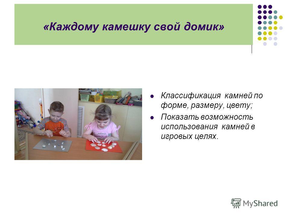 «Каждому камешку свой домик» Классификация камней по форме, размеру, цвету; Показать возможность использования камней в игровых целях.