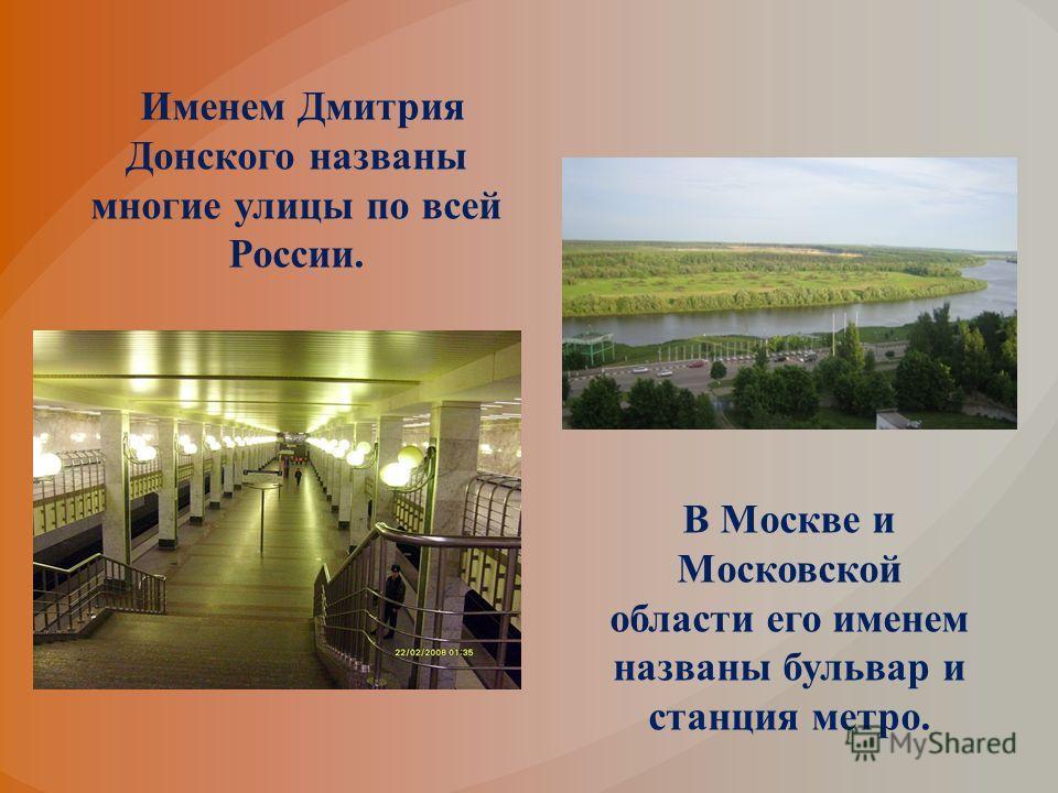 Именем Дмитрия Донского названы многие улицы по всей России. В Москве и Московской области его именем названы бульвар и станция метро.