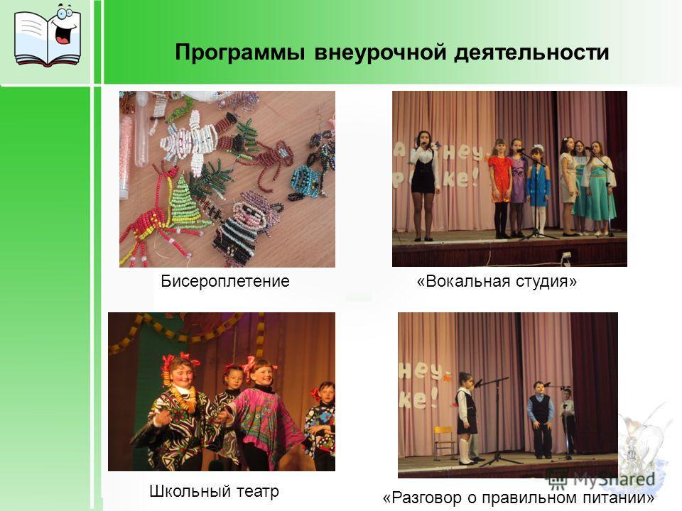 Бисероплетение Школьный театр «Вокальная студия» «Разговор о правильном питании» Программы внеурочной деятельности