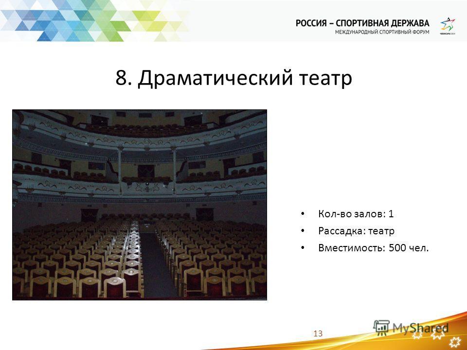13 8. Драматический театр Кол-во залов: 1 Рассадка: театр Вместимость: 500 чел.