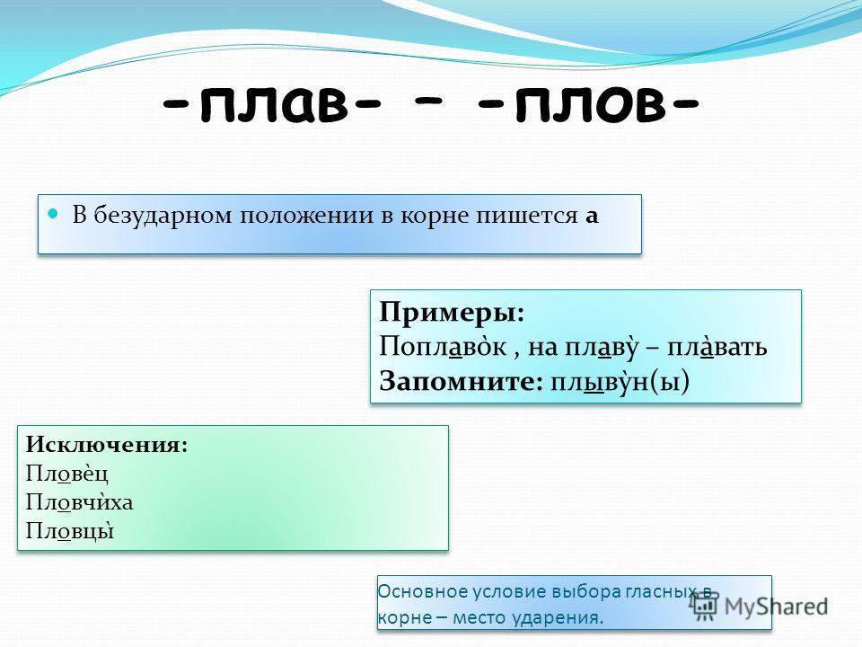 -плав- – -плов- В безударном положении в корне пишется а Примеры: Поплаво̀к, на плаву̀ – пла̀вать Запомните: плыву̀н(ы) Примеры: Поплаво̀к, на плаву̀ – пла̀вать Запомните: плыву̀н(ы) Исключения: Пловѐц Пловчѝха Пловцы̀ Исключения: Пловѐц Пловчѝха