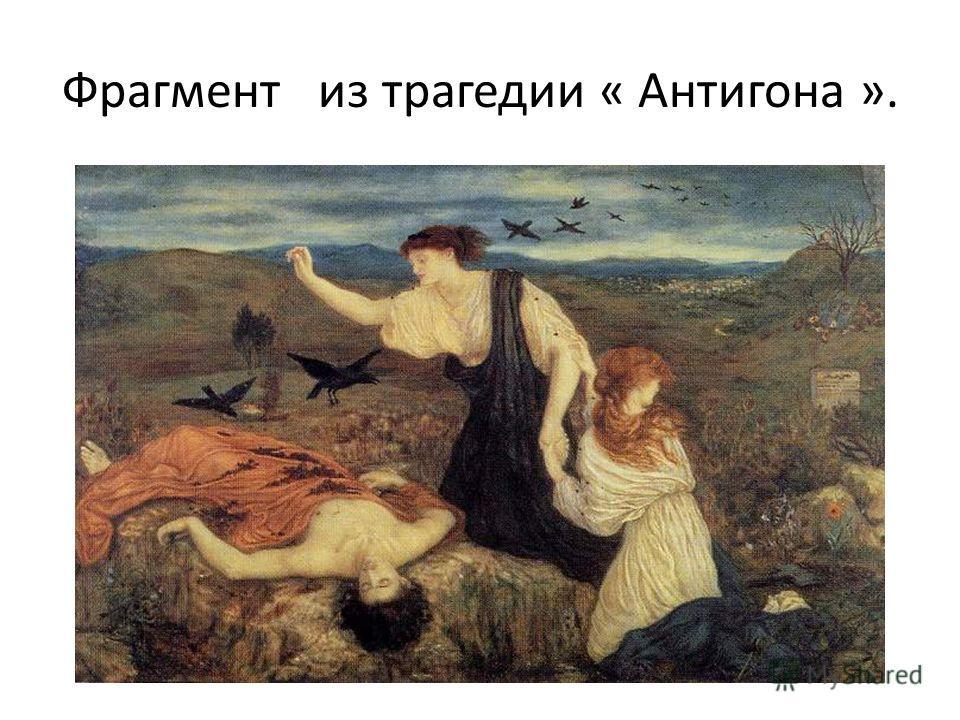 Фрагмент из трагедии « Антигона ».