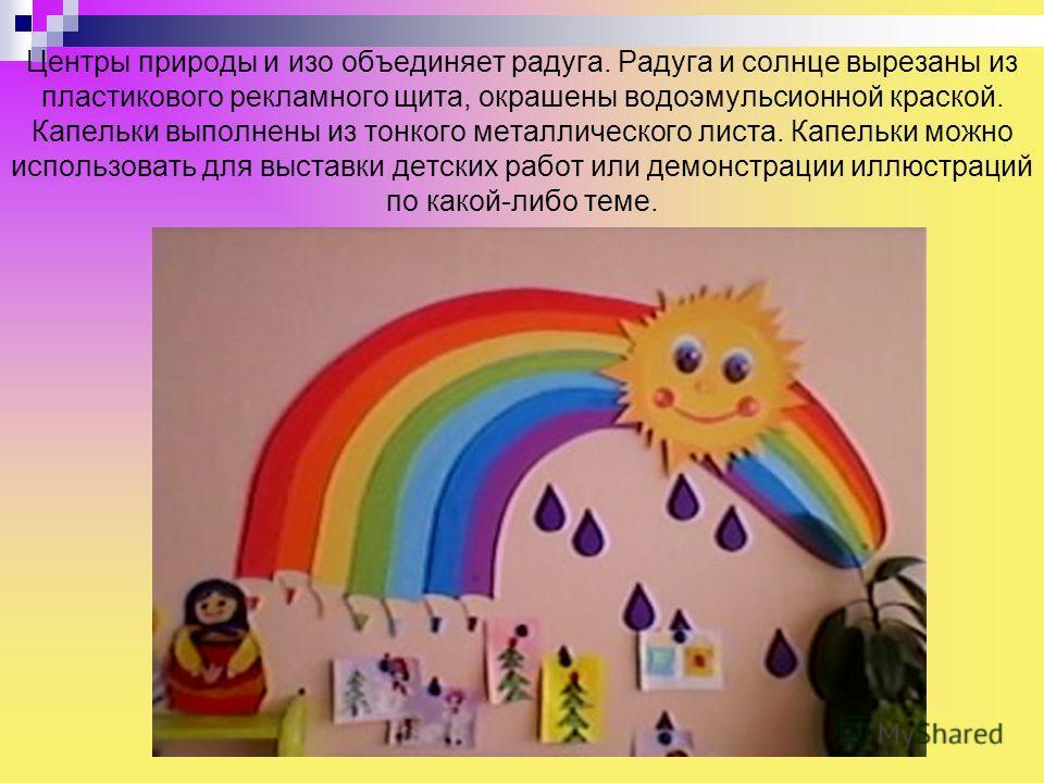 Центры природы и изо объединяет радуга. Радуга и солнце вырезаны из пластикового рекламного щита, окрашены водоэмульсионной краской. Капельки выполнены из тонкого металлического листа. Капельки можно использовать для выставки детских работ или демонс